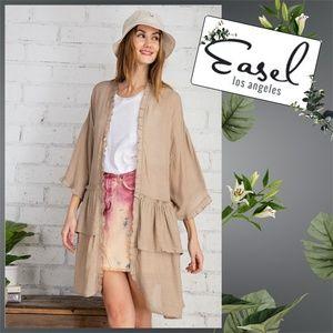 "Easel ""Oh My Gauze"" Ruffle Trim Open Front Kimono"
